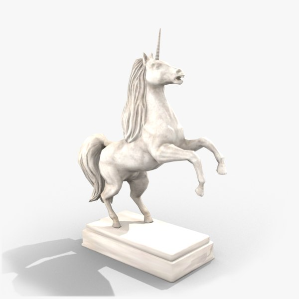 3d model of unicorn statue