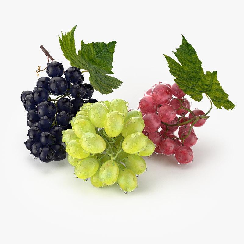 3d c4d realistic grapes fruit real