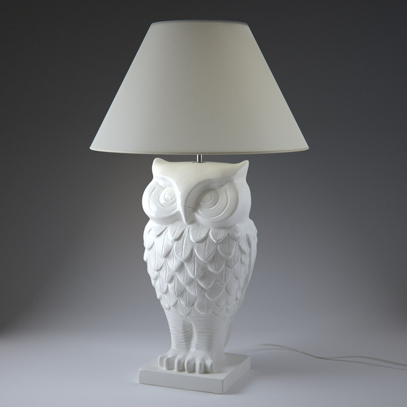 3d owl lit lamp model