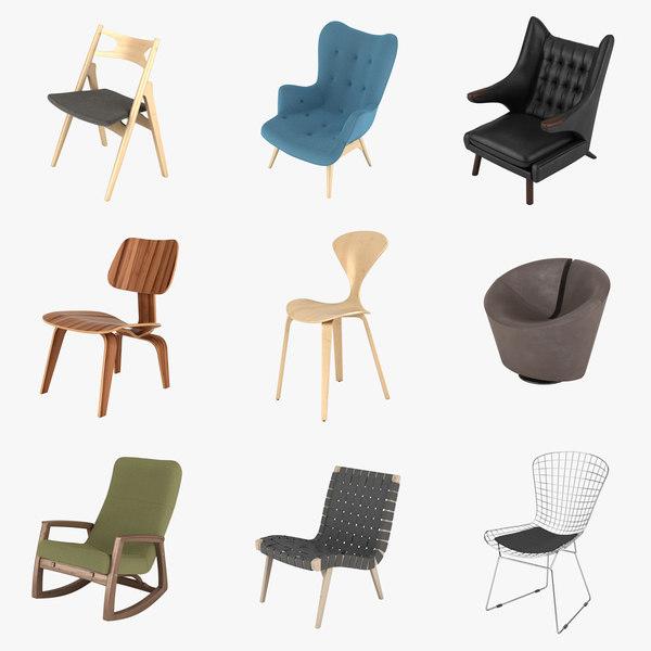3d chairs hans wegner model