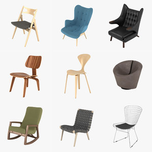 3d chairs hans wegner model