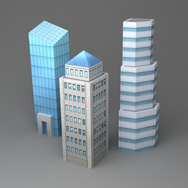 3d set skyscrapers model