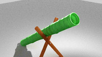 3d bamboo cannon model