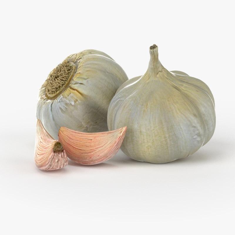 realistic garlic real vegetables 3d model
