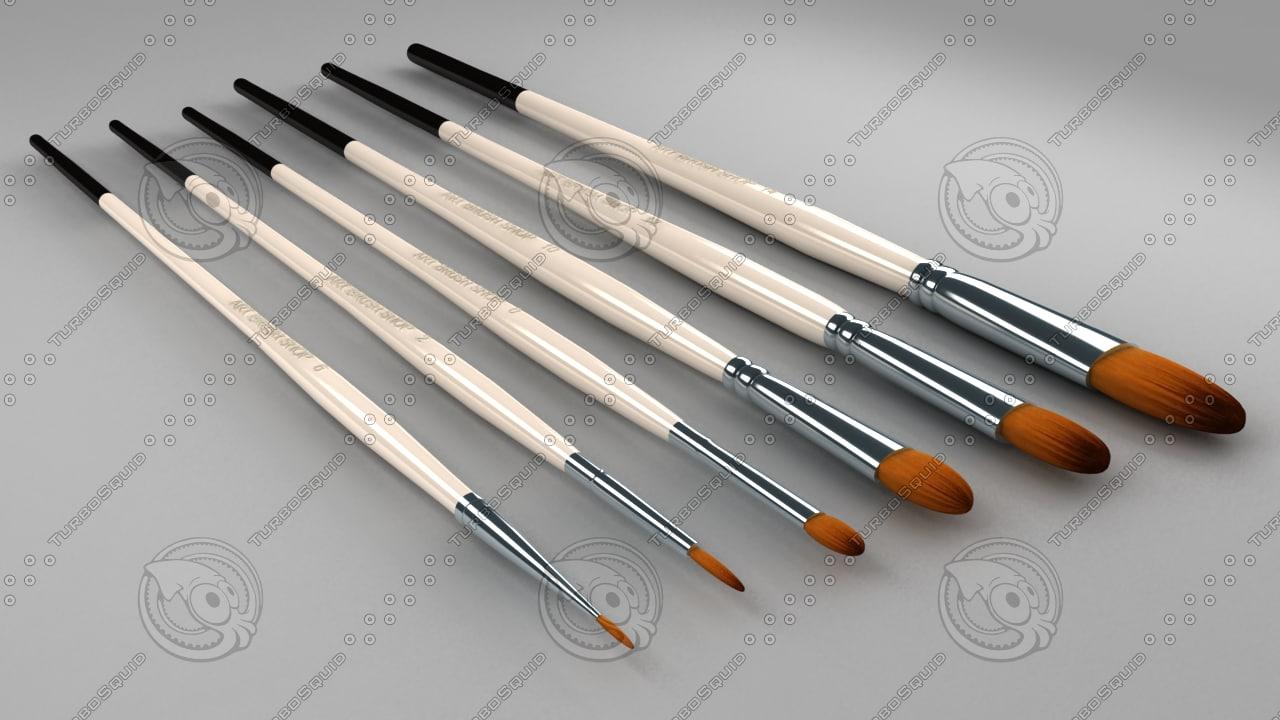 art brush set 3d model
