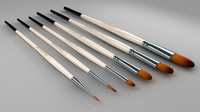 art brush set 3d model
