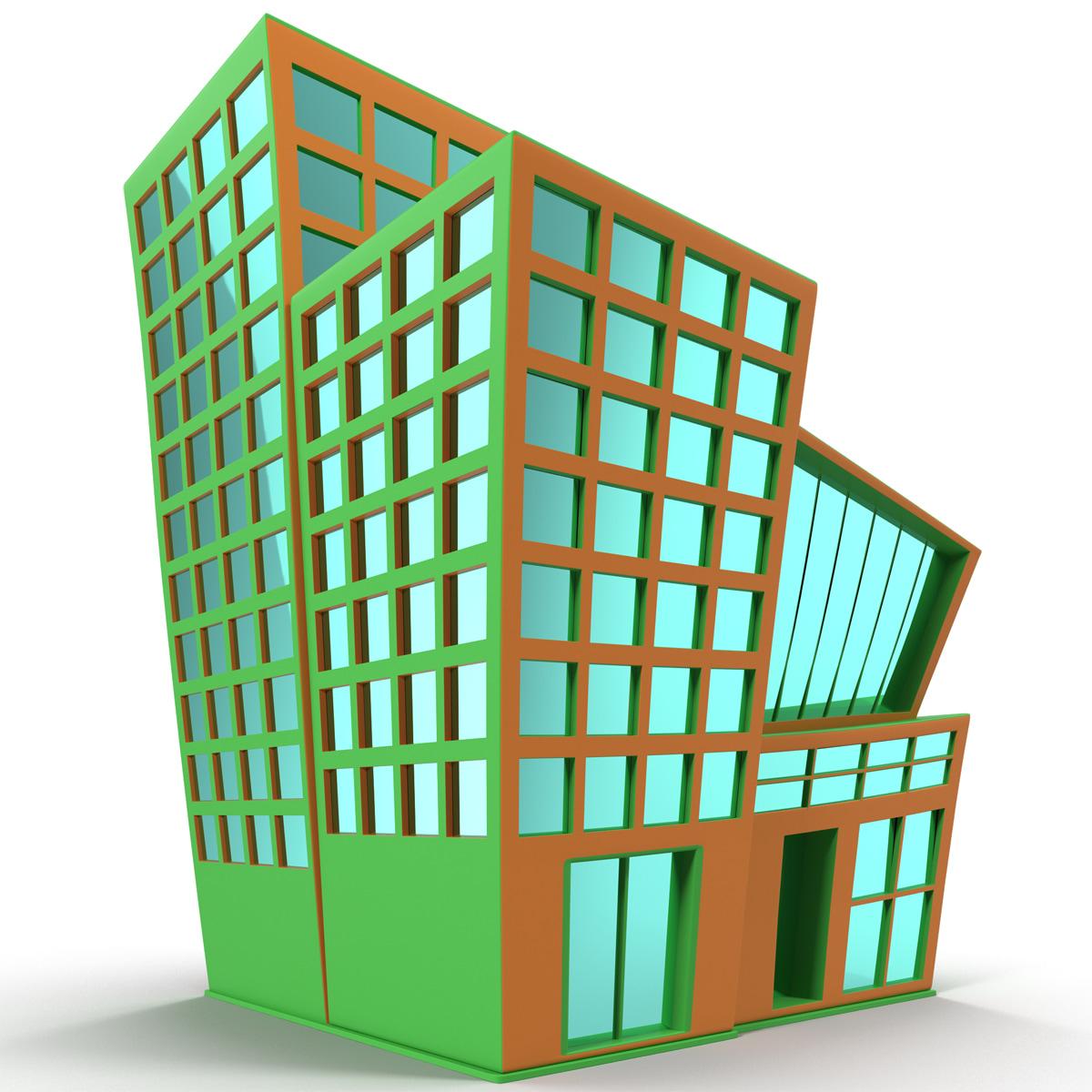 Cartoon building 3d max for 3d max building
