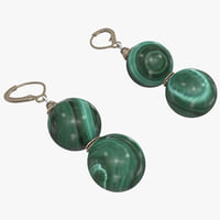malachite earrings 3d 3ds