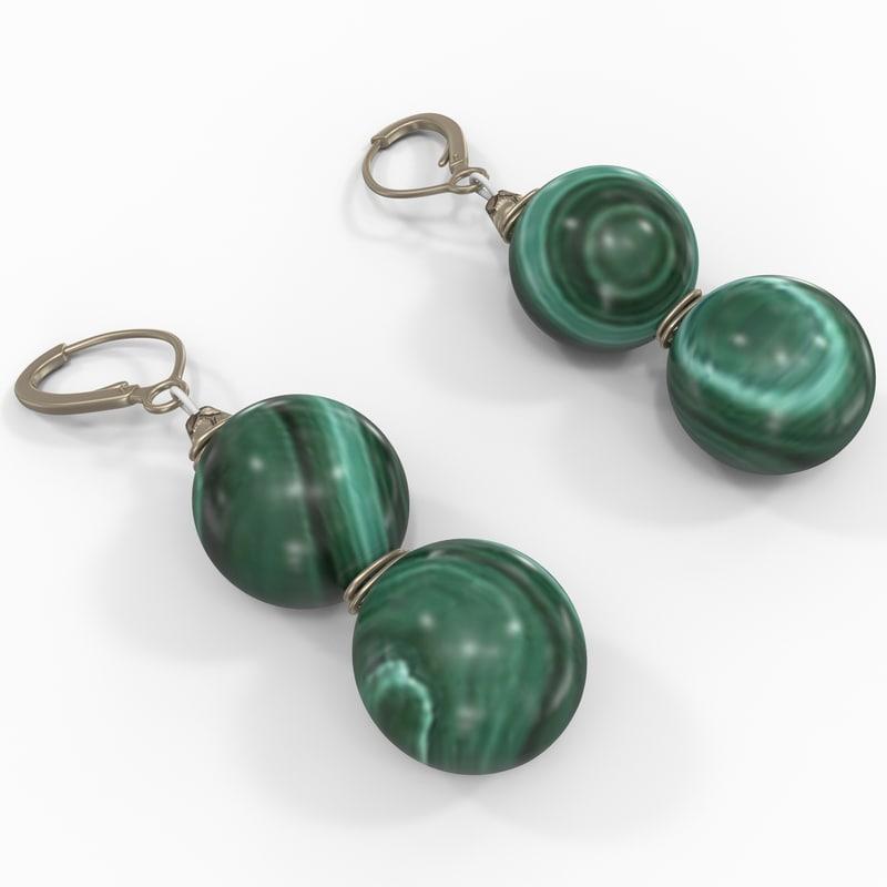 malachite earrings 3d 3ds