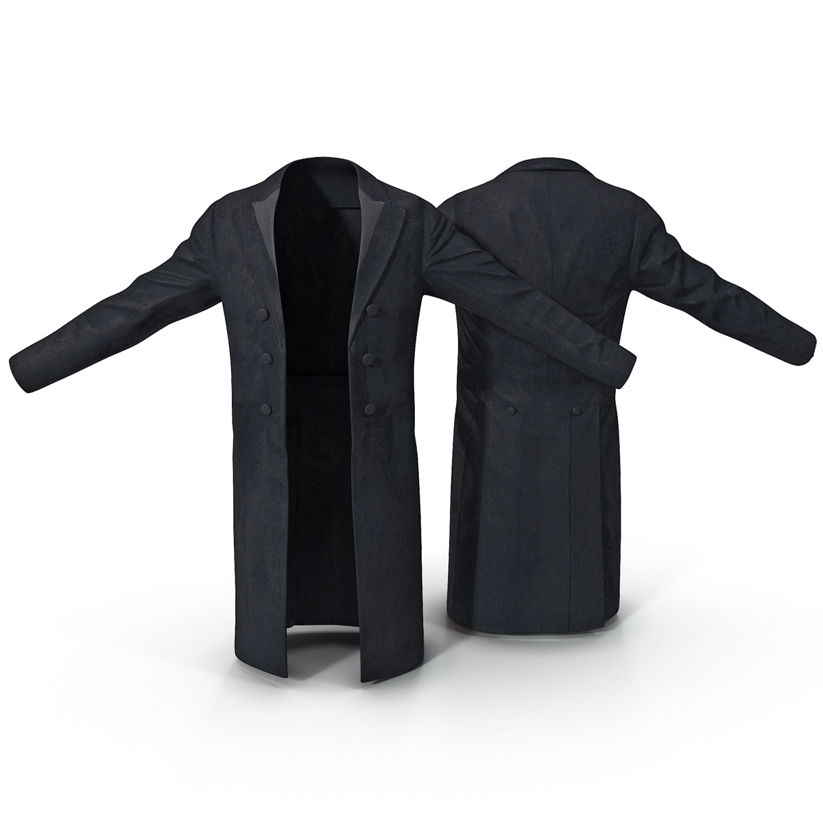 3d mens black coat model