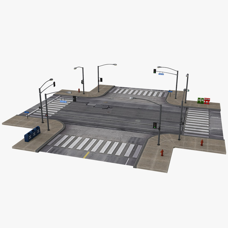 3d road intersection