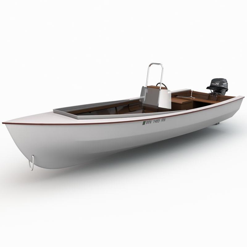 skiff motor boat 3d model