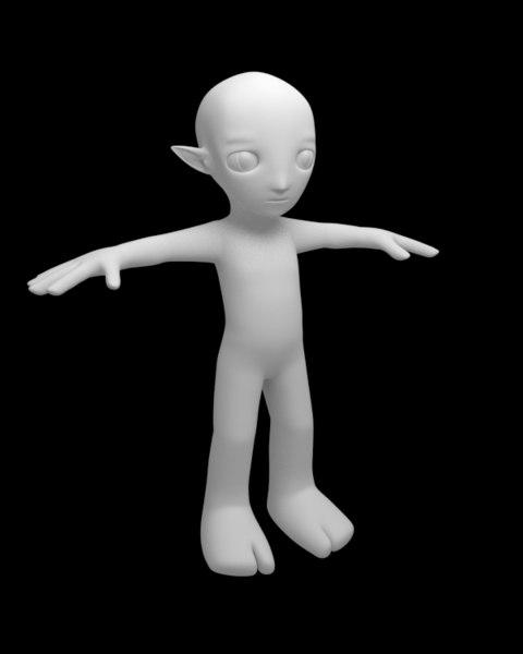 3d elf unrigged untextured model