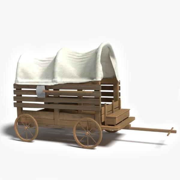 3d old western wagon