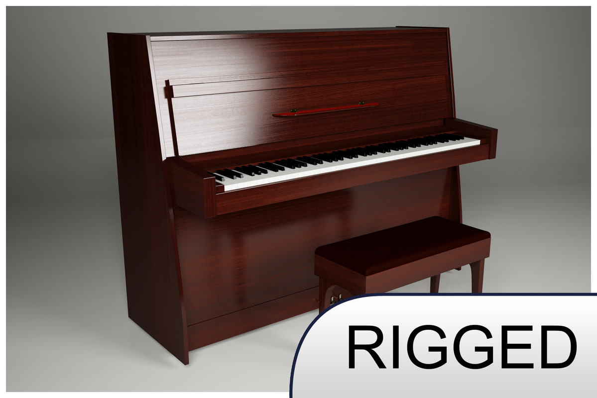 3d upright piano keyboard