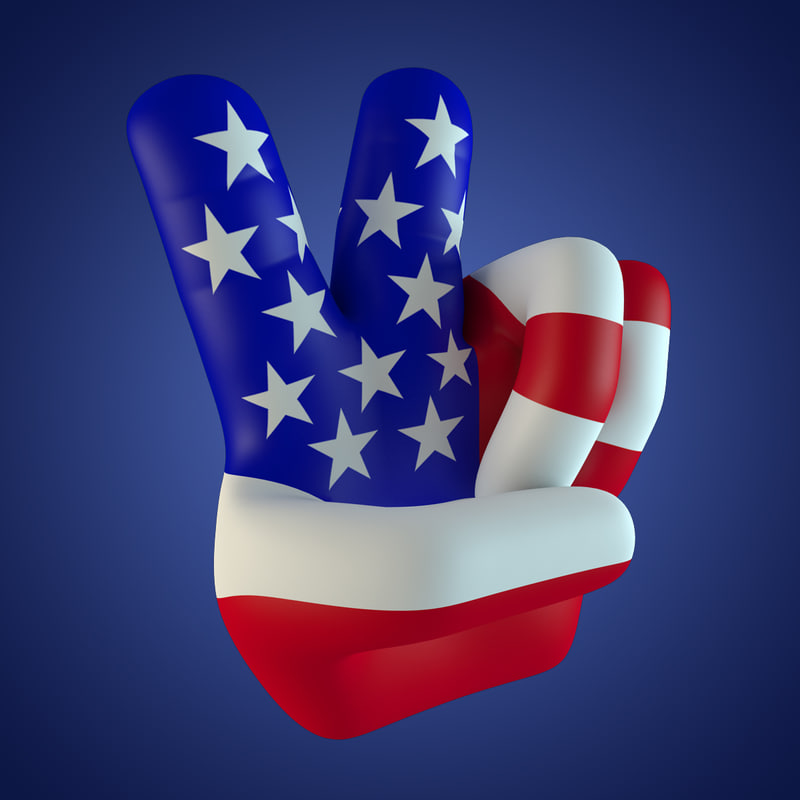 3d fingers peace usa