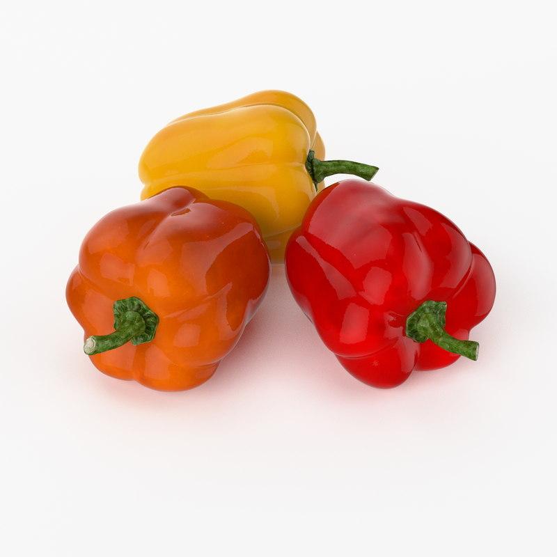 3d model of realistic bulgarian pepper real