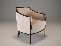 3d model baker deco classic lounge chair