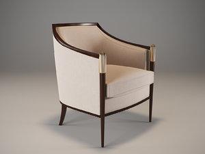 3d model baker deco classic lounge chair
