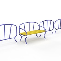fence bench children playground 3d obj