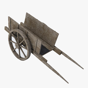 old wooden cart 3d model