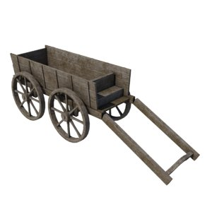 3ds old wooden cart