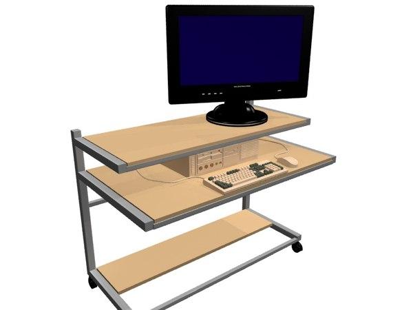 mobile computer workstation 3d model