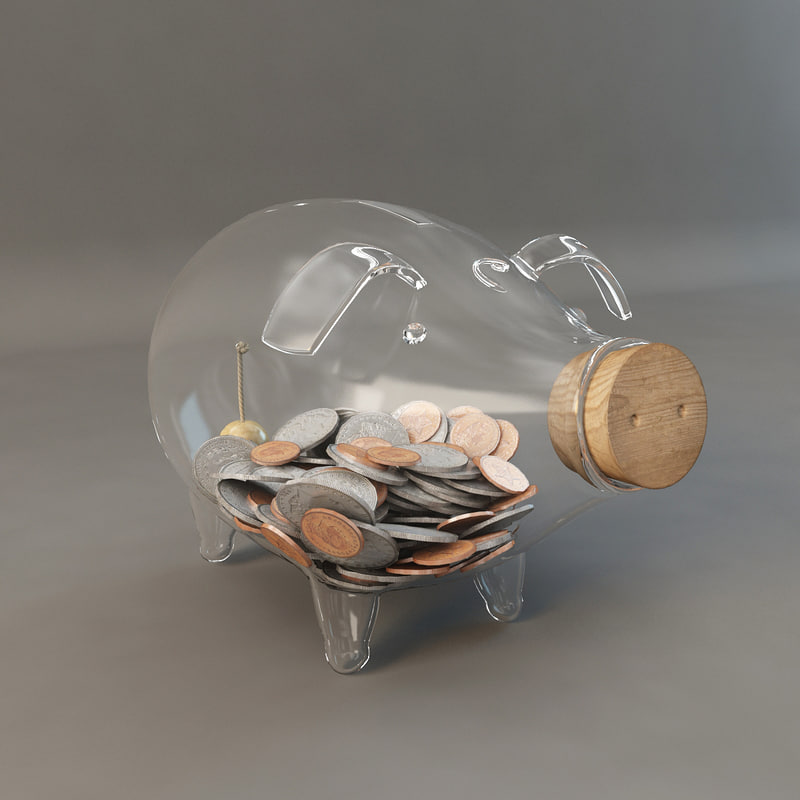 3d model glass piggy bank