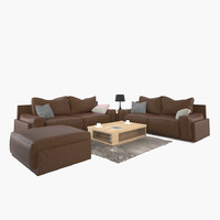 3d model living room table sofa