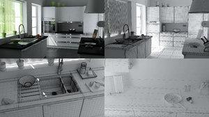 3ds max kitchen scene