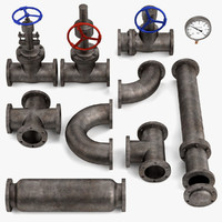 3ds max industrial pipes valves