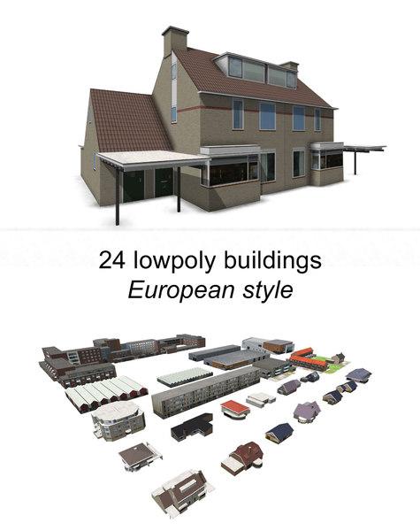 european building houses 3d model
