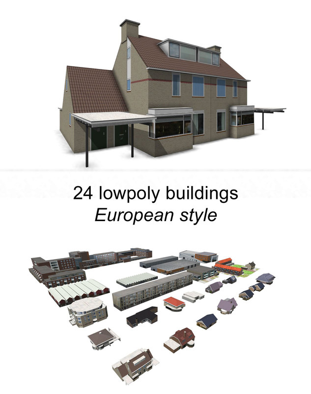european building houses 3d model