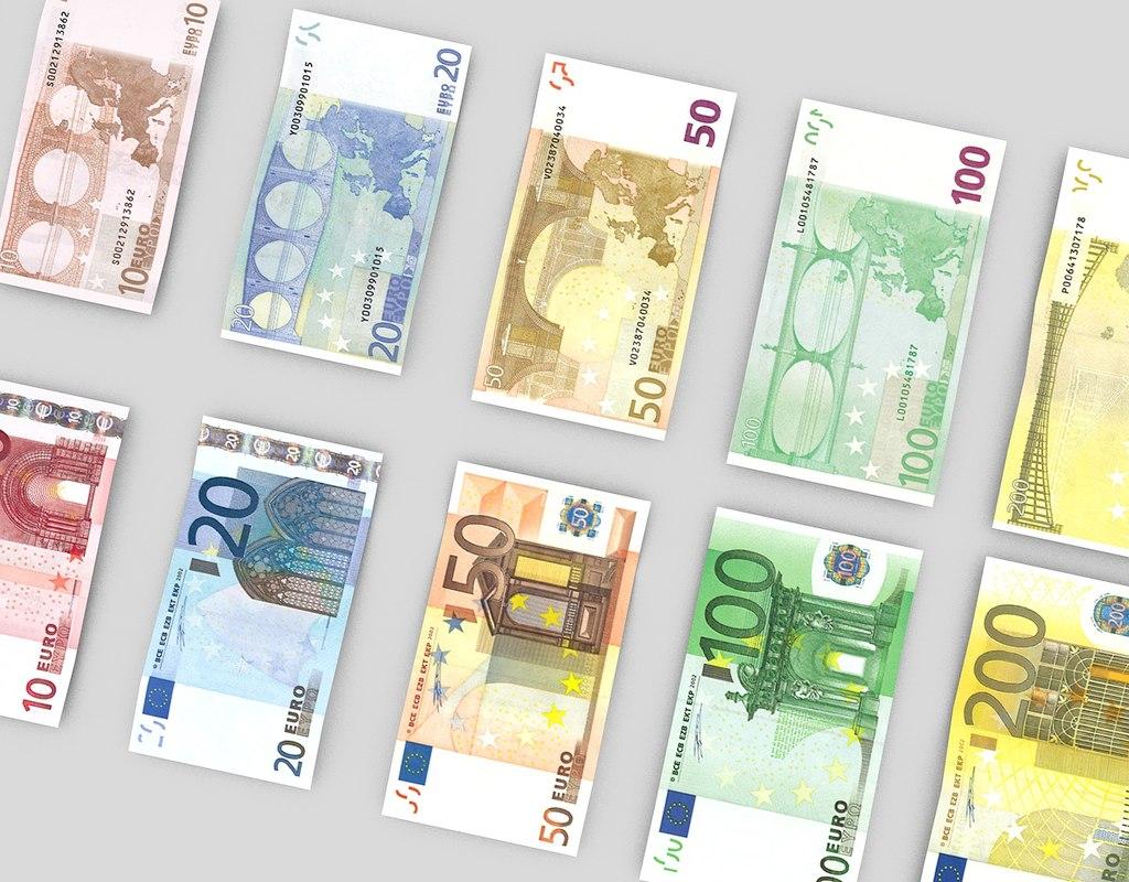 euro bills 3d model