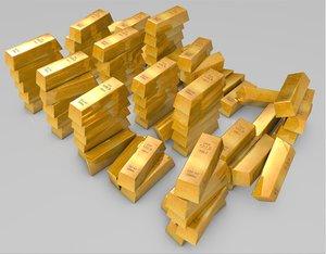 gold bullion bars 3d model