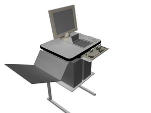 3d small work desk model