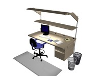 office desk work station 3d 3ds