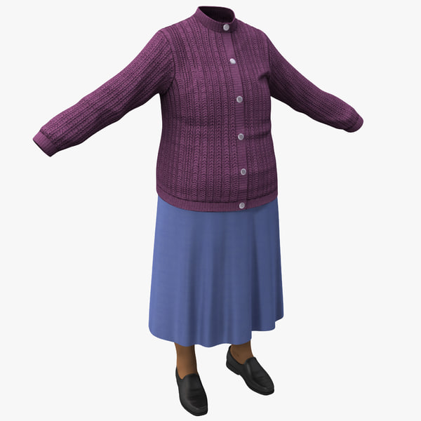 3d model elderly women clothing