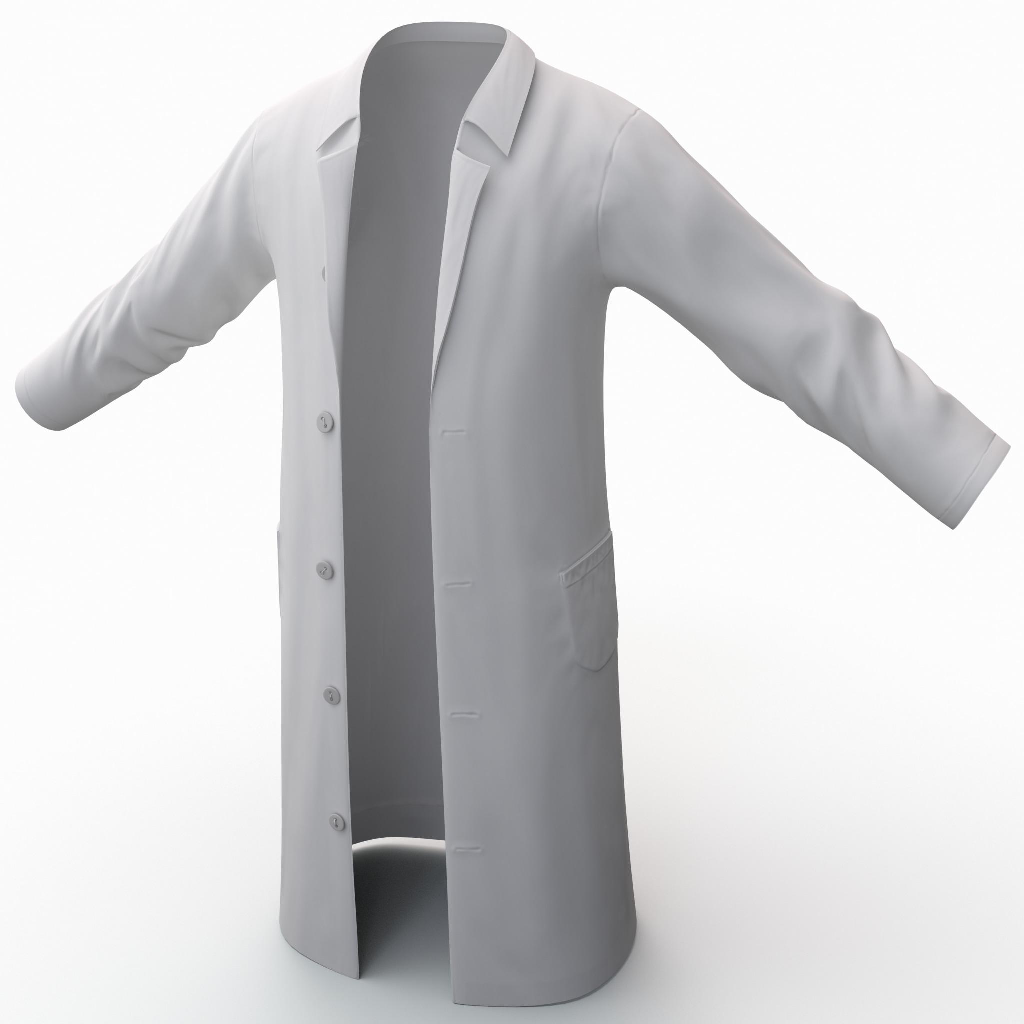 white lab coat 2 3d model