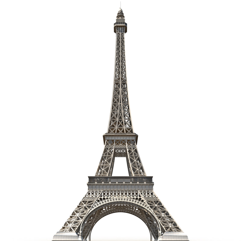 Eiffel tower low poly 3d c4d for Eiffel tower model template