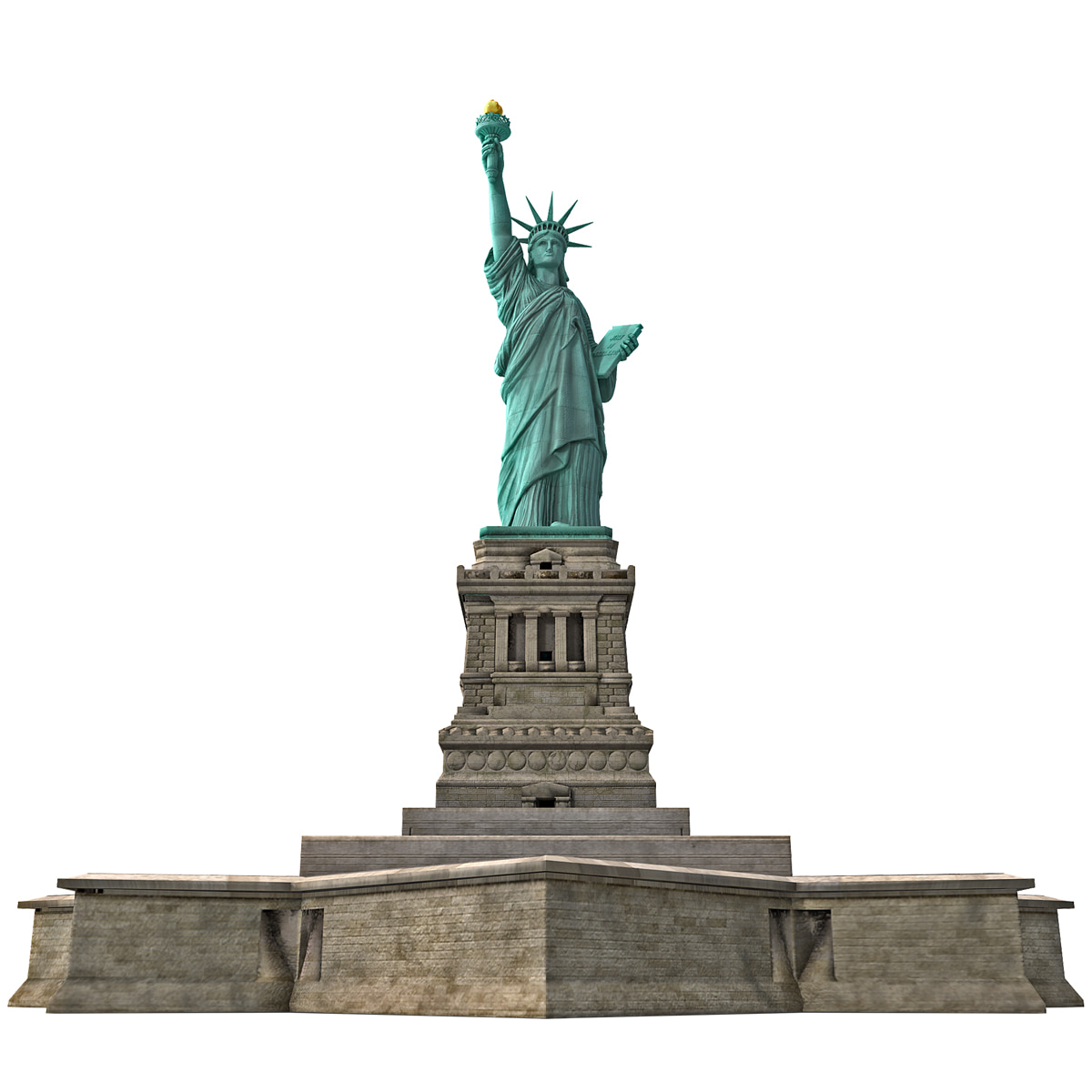 3d statue liberty low-poly model