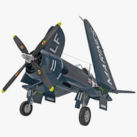 US WWII Fighter Aircraft F4U Corsair Rigged