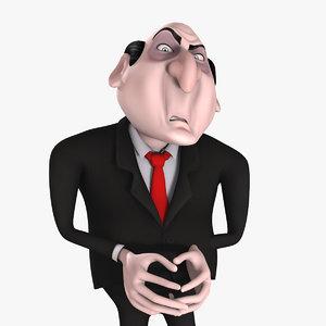 rigged cartoon evil businessman 3d max