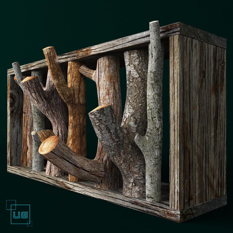 hanger wood bath 3d model