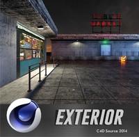 free market exterior scene 3d model