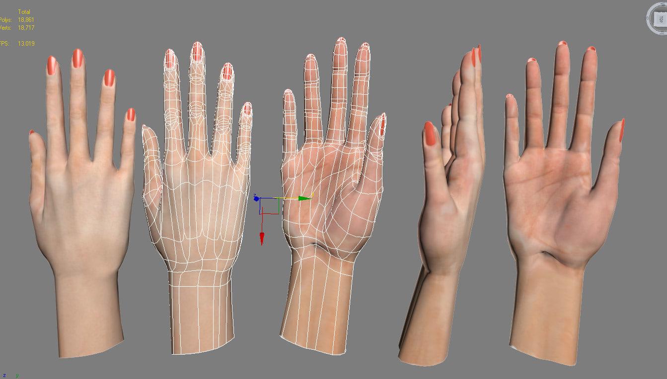 female hand 3d max