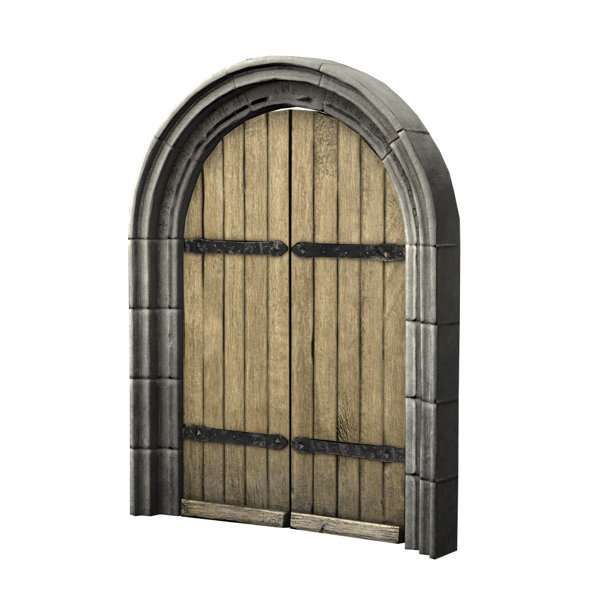 arched double door 3d obj