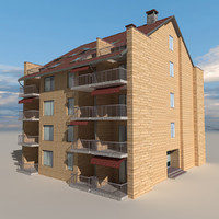 3d city block building 03