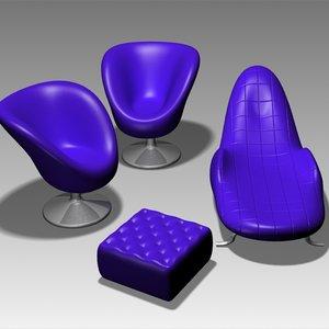 3d model of furniture set modern interior