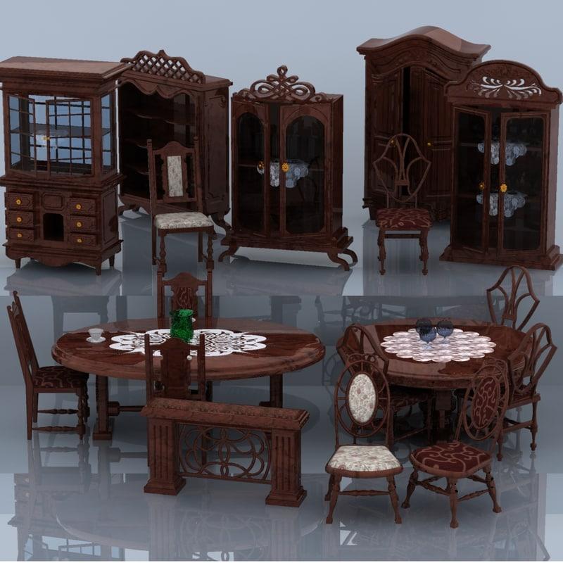 set furniture antique 3d model